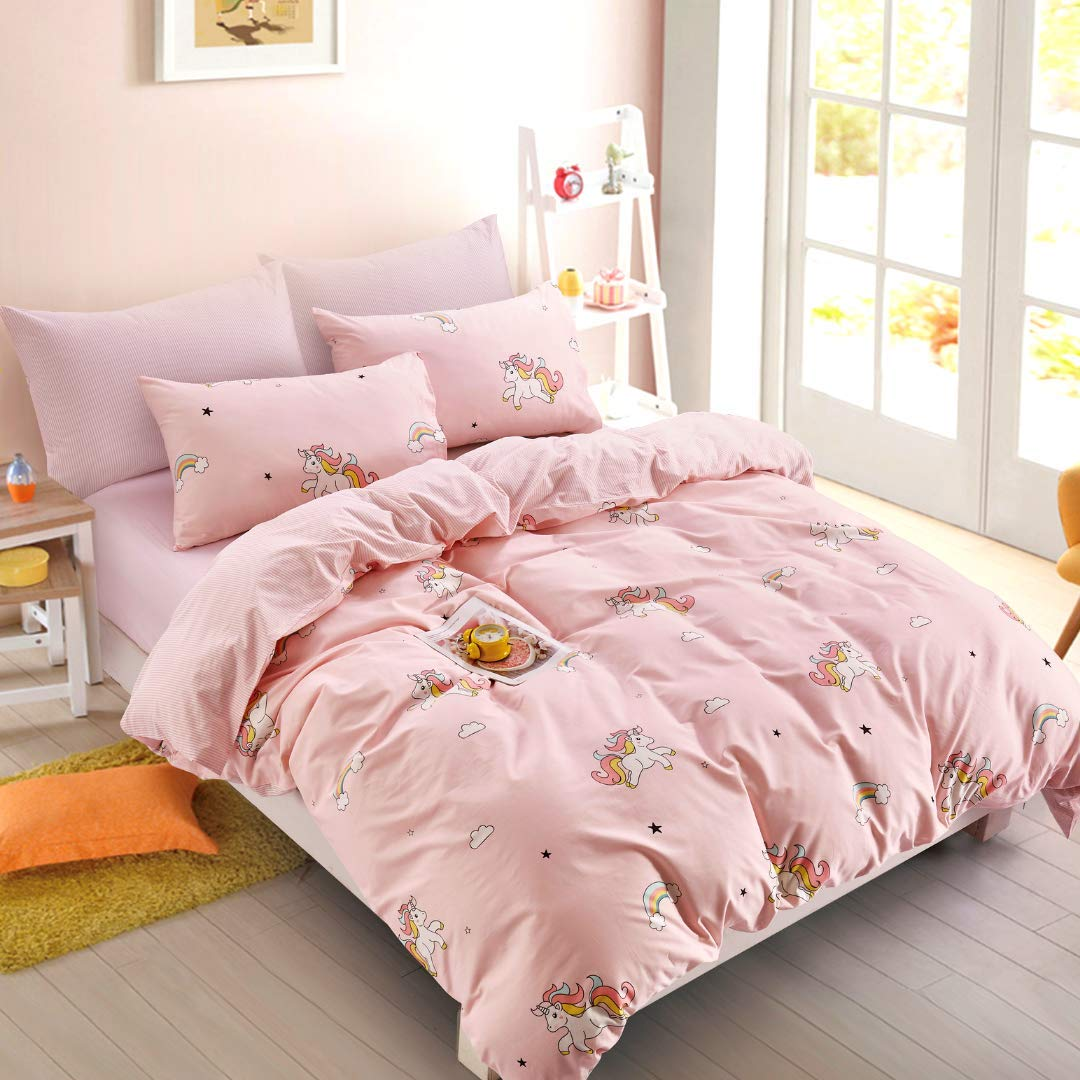 ELLE & KAY Unicorns Duvet Cover Set/Unicorn Kids Bedding/ 100% Cotton Queen Zipper Bedding/Full Reversible Girls Comforter Cover/ 3 Piece Queen Duvet Cover Set. by ELLE & KAY (Image #6)