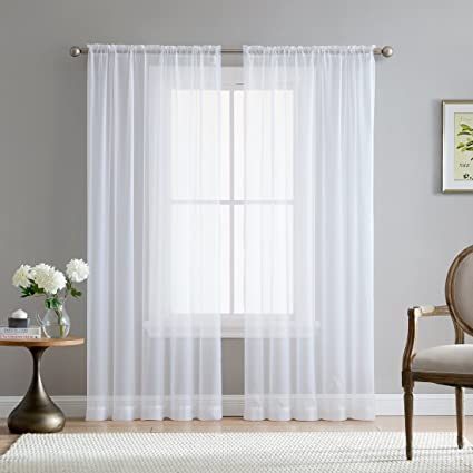 Amazon.com: HLC.ME White Sheer Voile Window Treatment Rod Pocket