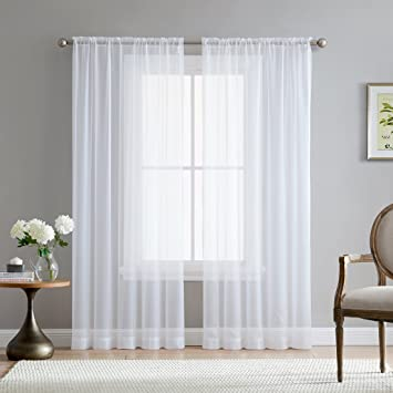 Hlc Me White Sheer Voile Window Treatment Rod Pocket Curtain Panels For Kitchen Bedroom And Living Room 54 X 95 Inches Long Set Of 2