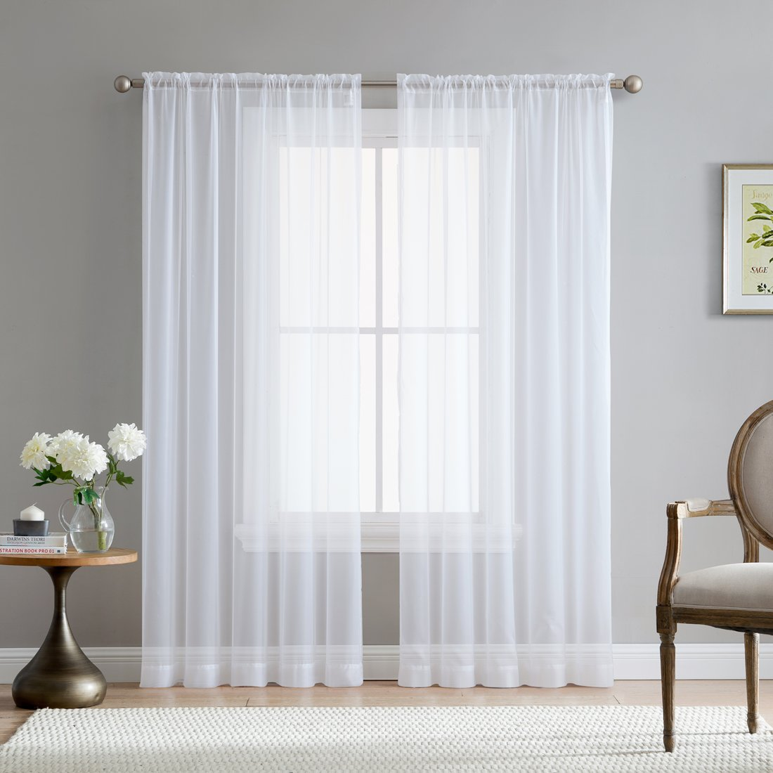 "HLC.ME White Rod Pocket Sheer Voile Window Curtain Panels for Bedroom, Living Room, Kids Room & Kitchen - 72"" inch Long"