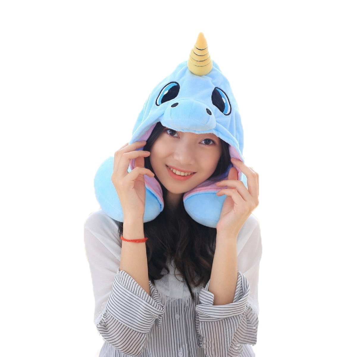 DPIST Unicorn Hooded Animal Travel Neck Pillow Polyester Neck Pillow Support Cushion Unicorn Hoodie Funny Gifts for Children and Women Shanghai Musha Trade Co. Ltd.