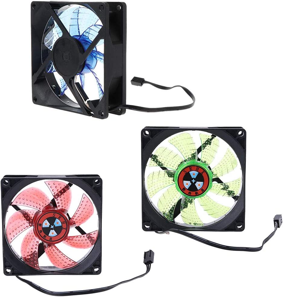 siwetg LED Light 3 Pin 90mm PC Desktop Computer Case Cooling Cooler Fan Low Noise 9025