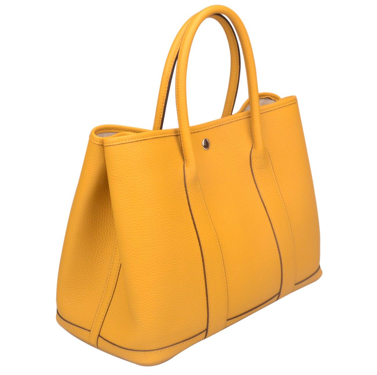 Ainifeel Women's Genuine Leather Tote Bag Top Handle Handbags (Dark Yellow)