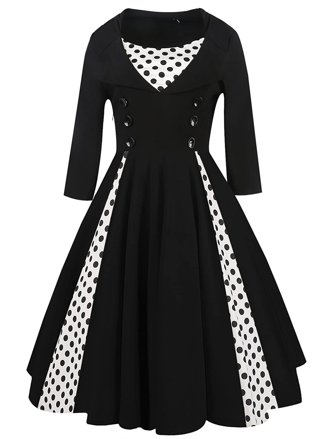 Oxiuly Womens Vintage Polka Dot Retro Half Sleeve 1950S Vintage Cocktail Casual Swing Dress OX202 80%OFF