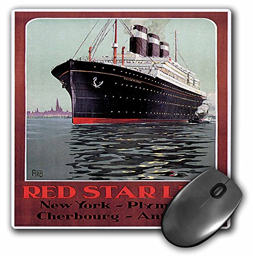 3dRose BLN Vintage Ocean Liners Advertising Posters - Vintage Red Star Line New York Plymouth Steam Ship Travel Poster - MousePad (mp_149237_1)