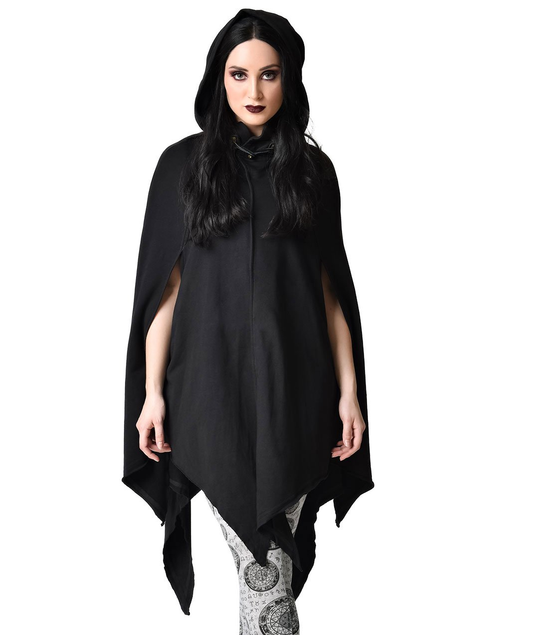 Unique Vintage Gothic Style Black Hooded & Tapered Cotton Cloak