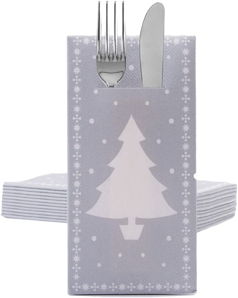 Sovie HOME Lot de 12 Serviettes de Table Airlaid Motif Arbre Blanc 40 x 40 cm