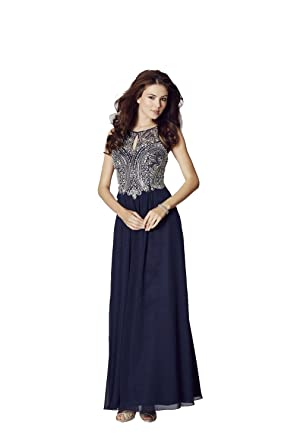 Tiffanys Illusion Prom Navy Perryn Chiffon Gown with Silver Crystals UK 18 (US 14)