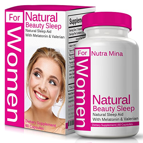 FLASH SALE - Natural Beauty Sleep For WOMEN Is A Unique Blend Of Melatonin, Valerian, Ashwagandha And Natural Sleep Aids That Promotes Relaxation And Restful Sleep, Made In USA - 60 Veggie Capsules