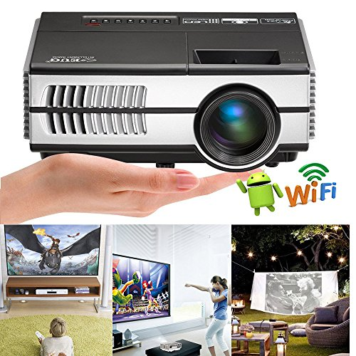 LCD Mini Wifi Projector 1500 Lumens, Multimedia Home Theater Video Projector Android Support 1080P HDMI Wireless Projectors for iPhone iPad Laptop, Game-Playing Halloween Party Outdoor Movie (Halloween Movie Font)