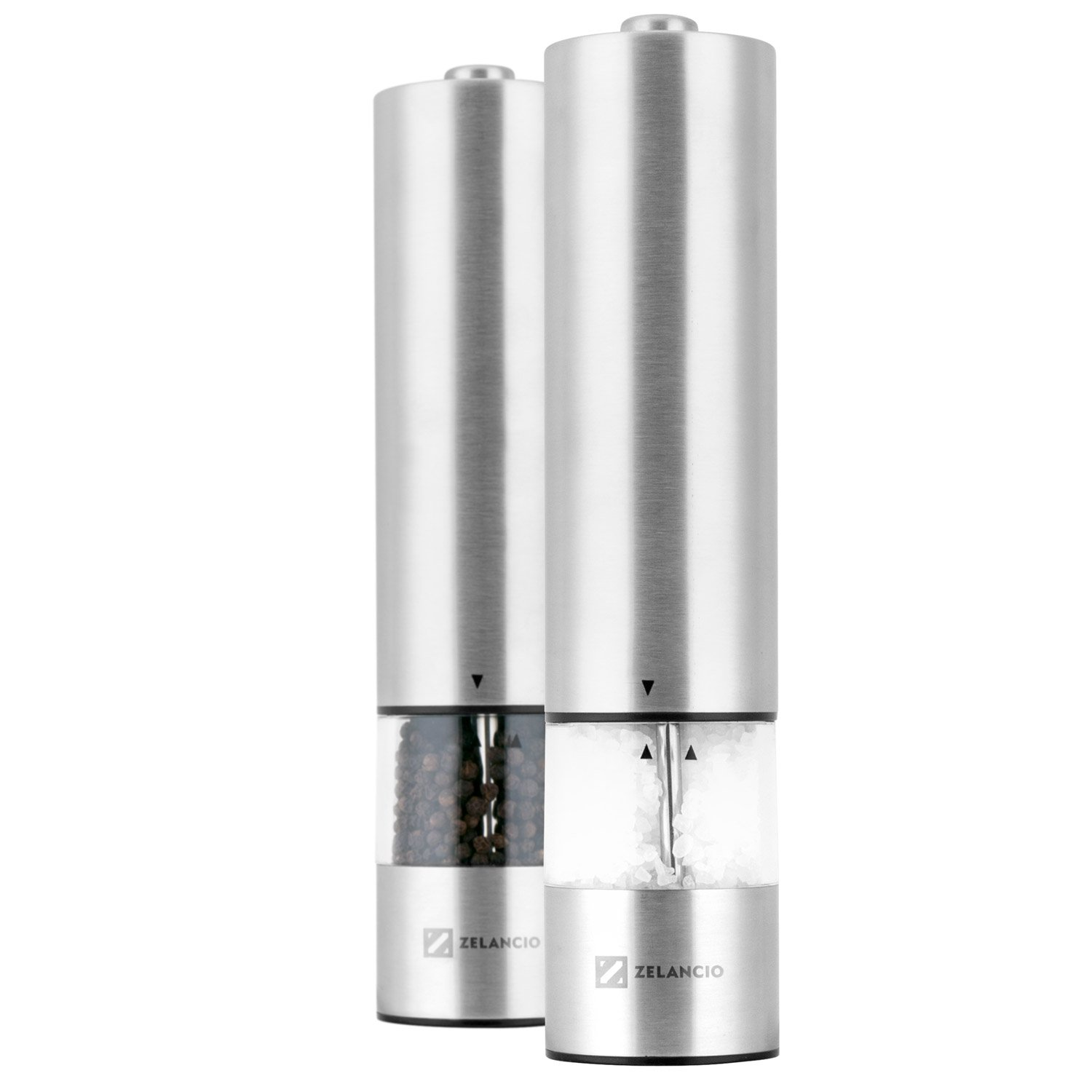 Zelancio Electric Salt and Pepper or Spice Grinder Set | Battery Powered One Touch Grind | Set of 2 Mills by Zelancio
