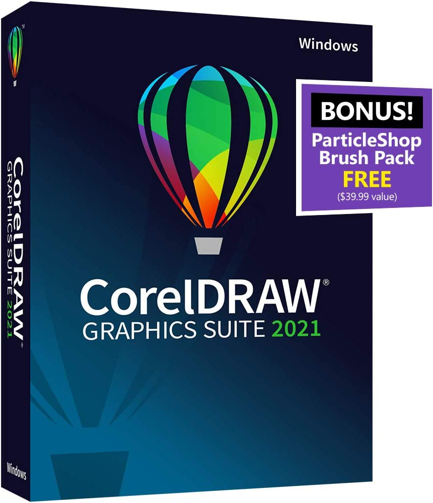 CorelDRAW Graphics Suite 2021 | Graphic Design Softwarefor Professionals| VectorIllustration, Layout, andImageEditing |Amazon ExclusiveParticleShopBrushPack[PC Disc]