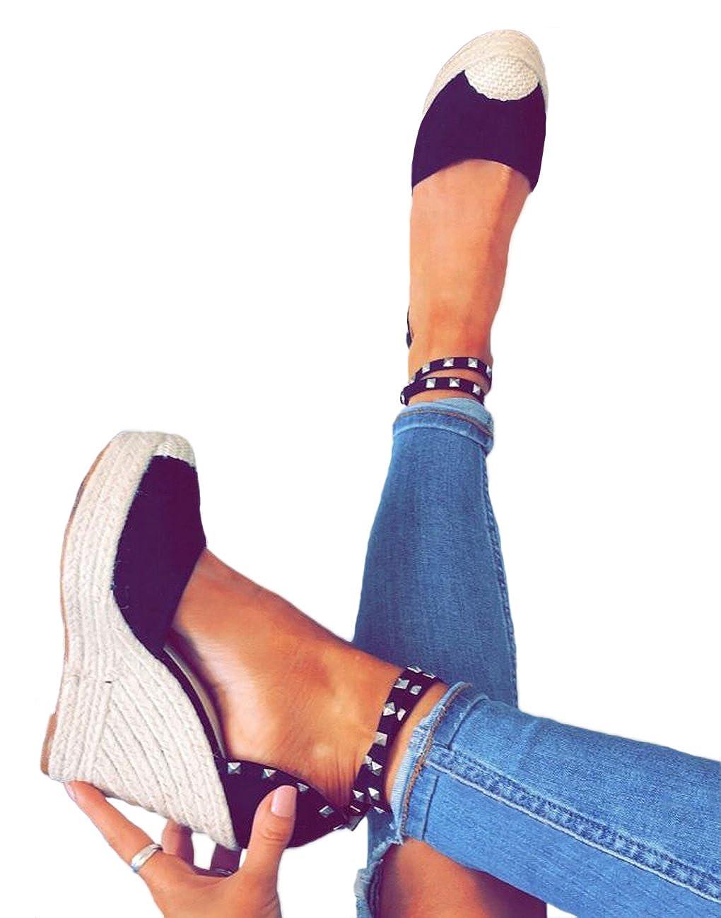 Minetom Sandali Romani Donna Estivo Eleganti Tacco Zeppa Espadrillas Caviglia Rivetto Benda Moda Casual Sexy High Heels Sandals  Nero