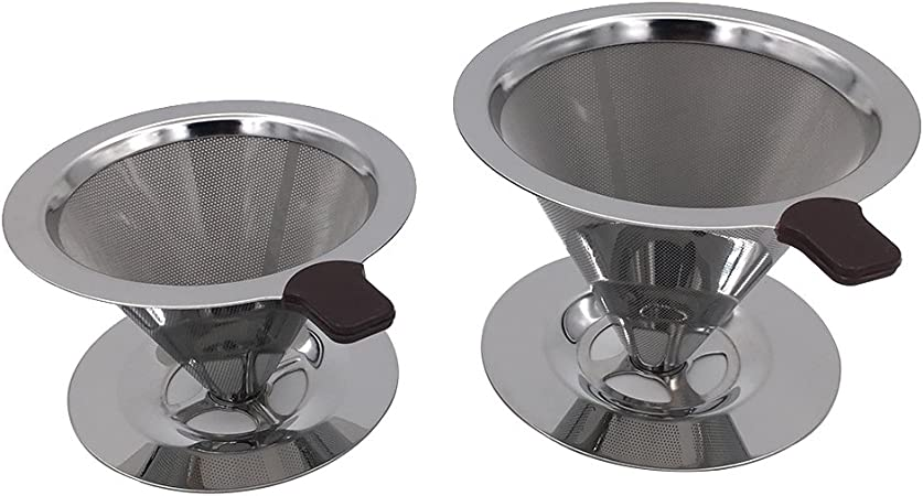 Pour Over Coffee Dripper with Double Layered Filter Paperless and Reusable Cone