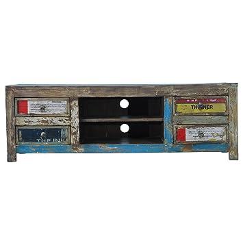 Tv bank holz vintage  TV-Bank TV-Board Lowboard Fureso Retro Vintage Bunt Holz ...