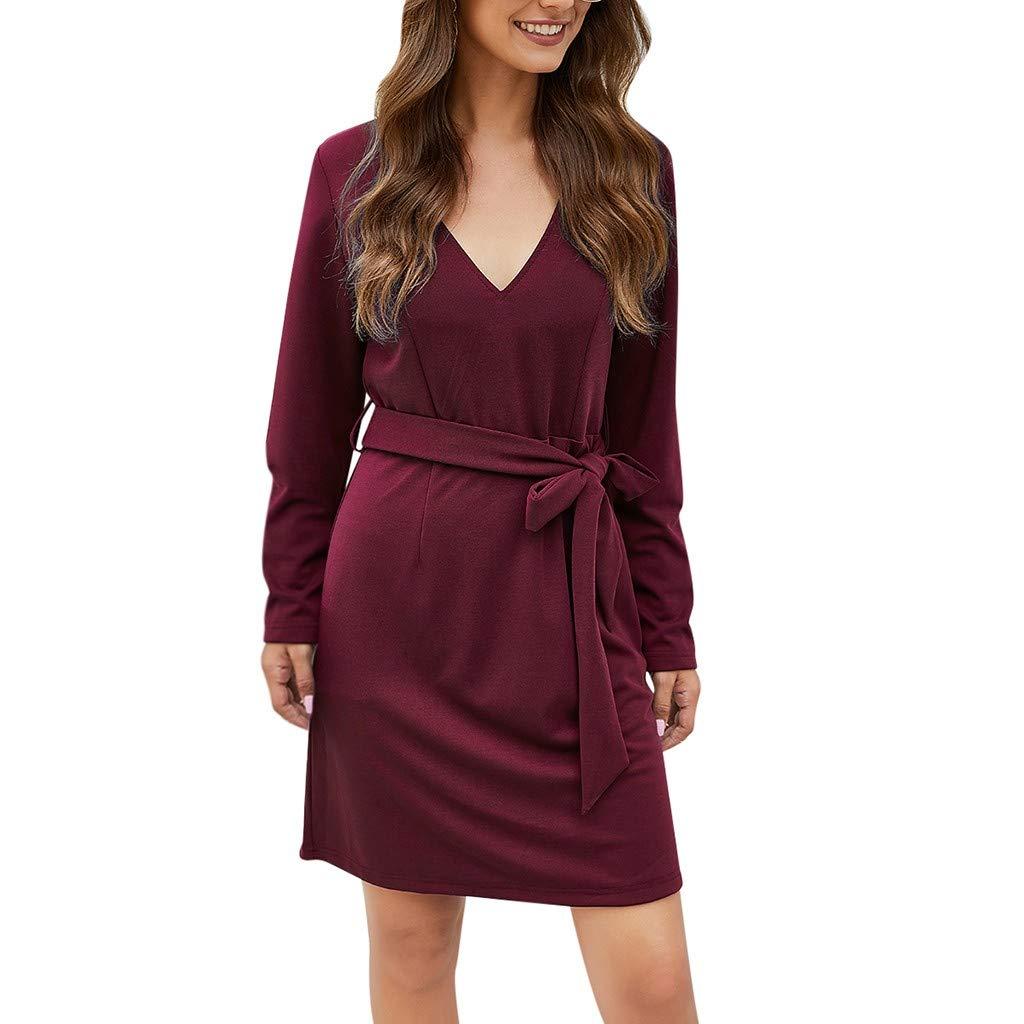 SEXYTOP Vintage Solid Long Sleeve A-Line Dress Women O/V Neck Sashes Wrapped Irregular Hem Button Down Elegant Dress by SEXYTOP