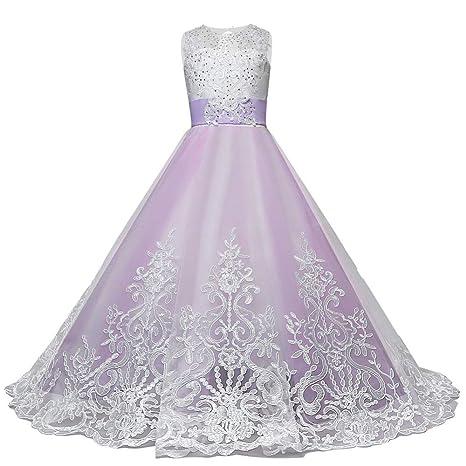 Leey Ragazza Gonna a Fiori in Pizzo 3D Senza Maniche Vestito da Principessa  delle Feste Elegante dd50e47fe62
