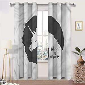 Interestlee Kitchen Curtains, Quote Grommet Drapes for Kitchen Cafe Decor, Believe in Miracles Phrase Set of 2 Panels, 72 Width x 96 Length