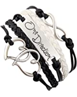 Weekend_PS Antique Silver Charm One Direction Infinity Heart Braided Black cord Leather Mixed Bracelet Wristbands Xmas Gift