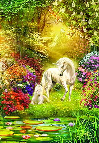Enchanted Forest Jigsaw Puzzle - Enchanted Garden Unicorns 500 Pc Jigsaw Puzzle by SunsOut