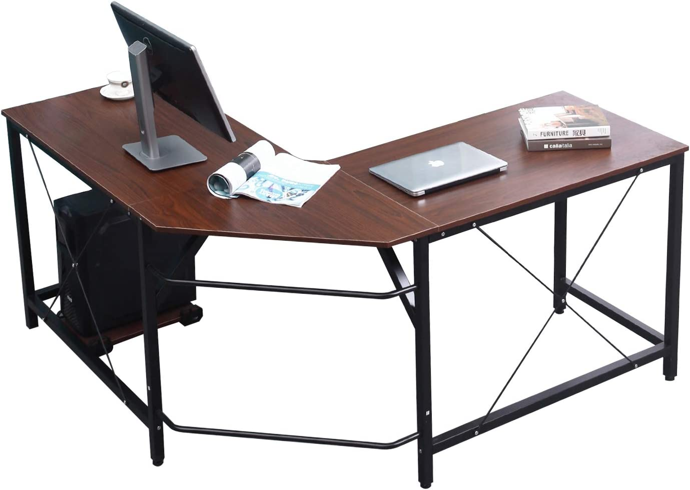 sogesfurniture Large L-Shaped Desk 59 x 59 inches Corner Table Computer Desk Workstation Desk PC Laptop Office Desk L Desk, Walnuet BHUS-LD-Z01-WA