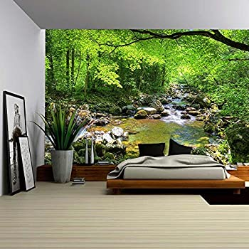 Wall26 fall forest stream smolny in russian primorye reserve removable wall mural self adhesive large wallpaper 66x96 inches