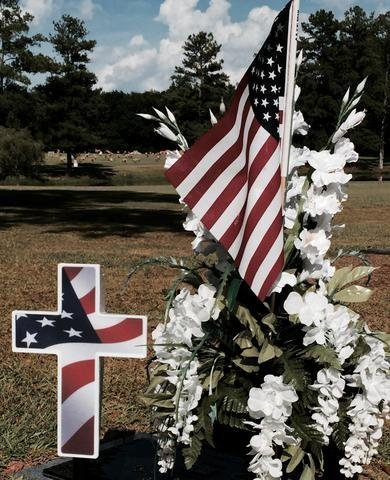 Solar American Flag Cross - Perfect Cemetery Decoration for Veterans - Lighted Grave Memorial Powered By God's Light
