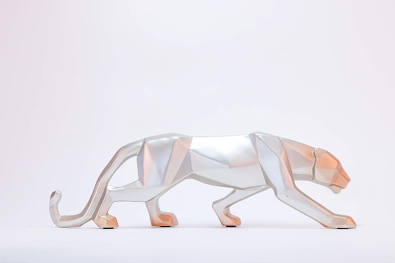 DECO GEMME Statuette L/éopard Argent et dor en R/ésine Panth/èr Argent Sculpture Artisanal