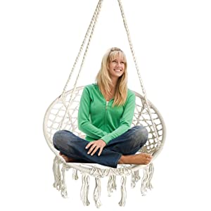 BHORMS Hammock Chair Macrame Swing for Any Indoor or Outdoor Spaces Home, Patio, Deck, Yard, Garden-Max Capacity 265 Lbs
