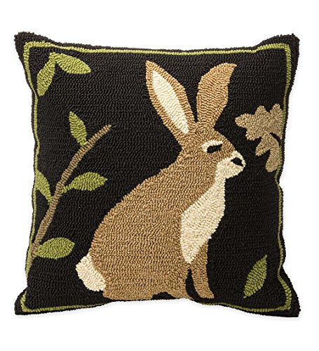 Indoor Outdoor Woodland Decorative Throw Pillow with Rabbit - 17.5 L x 17.5 W x 4.25 H (Pillows Plow Outdoor Hearth And)