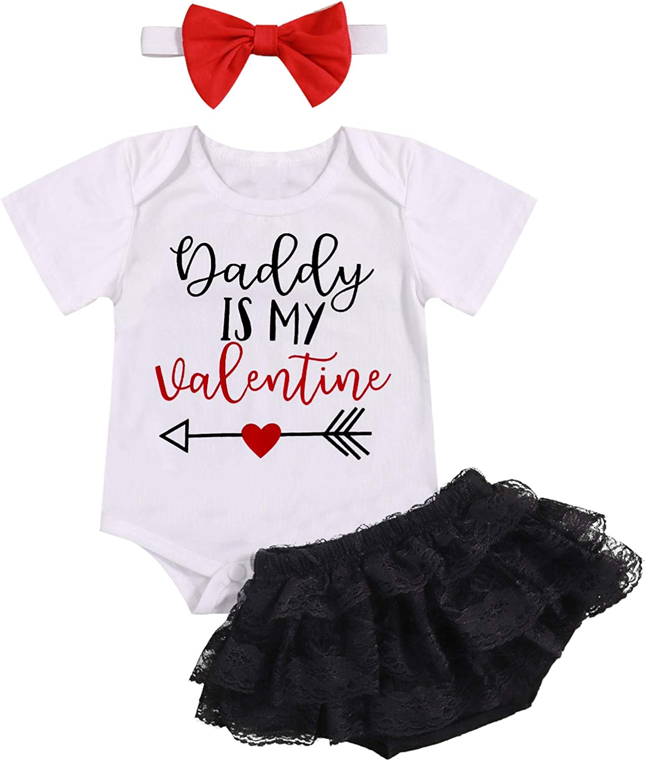 Baby Girl Valentine/'s Day Letter Bodysuit Bow Dot Leg Warmers 3Pcs Clothes Sets