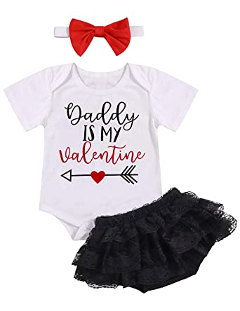 8675274d5268 Baby Girl Valentine Day Outfit Daddy is My Valentine Short Sleeve Romper  Lace Tutu Skirt 3PCs