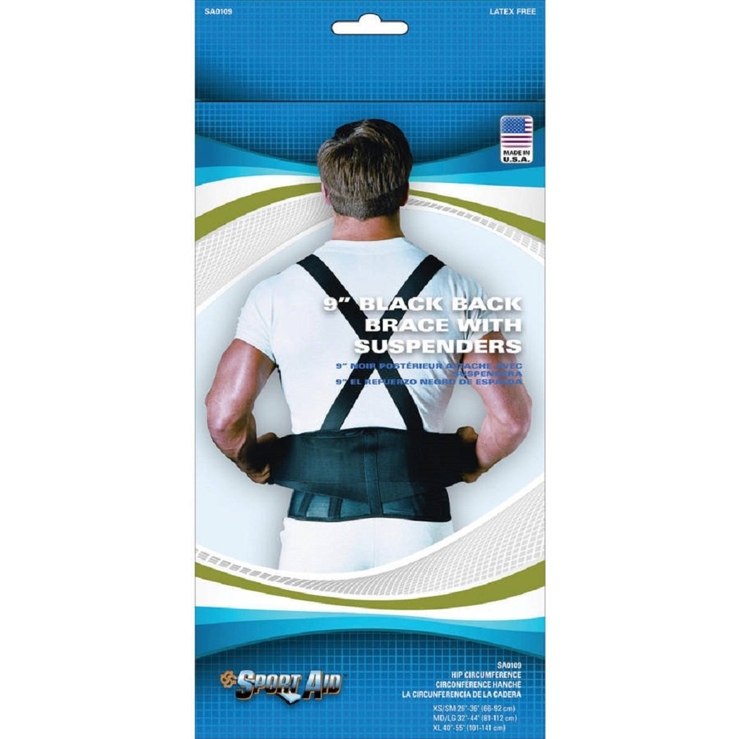 Sport Aid Back Brace with Suspenders, Medium/Large, Black [1 Each (Single)] by SCOTT SPECIALTIES CMO INC