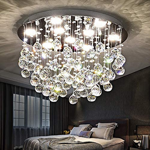NOXARTE Round Crystal Ceiling Light Modern Chrome Chandelier Contemporary Raindrop Flush Mount Lighting Fixture