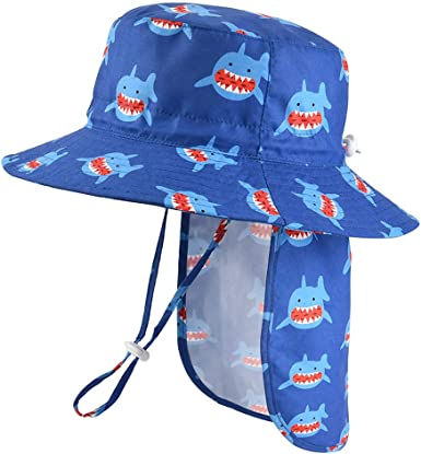 Summer Bucket Adjustable Toddler Kids UPF50 Unisex Baby Sun Hat with Removable Neck Flap