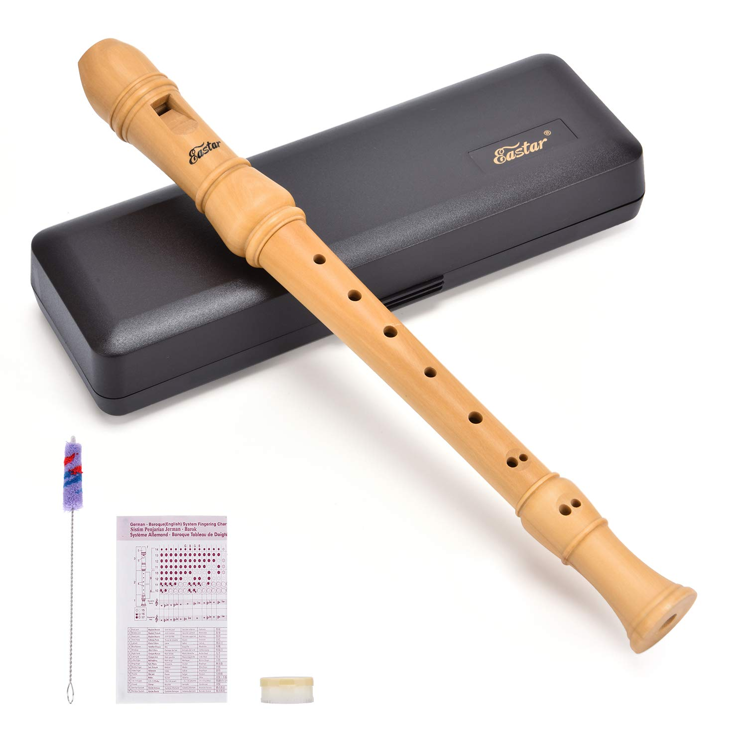 Eastar ERS-31BM Maple Wood Soprano Recorder Set C Key 3 Piece Instrument With Hard Case,Joint Grease,Fingering Chart And Cleaning Kit