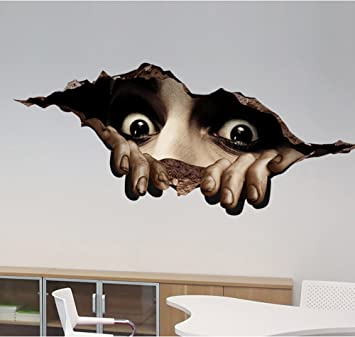 3D Wall Sticker Halloween Decorations Scary Room Floor Sticker Mural Decor  Decal Removable