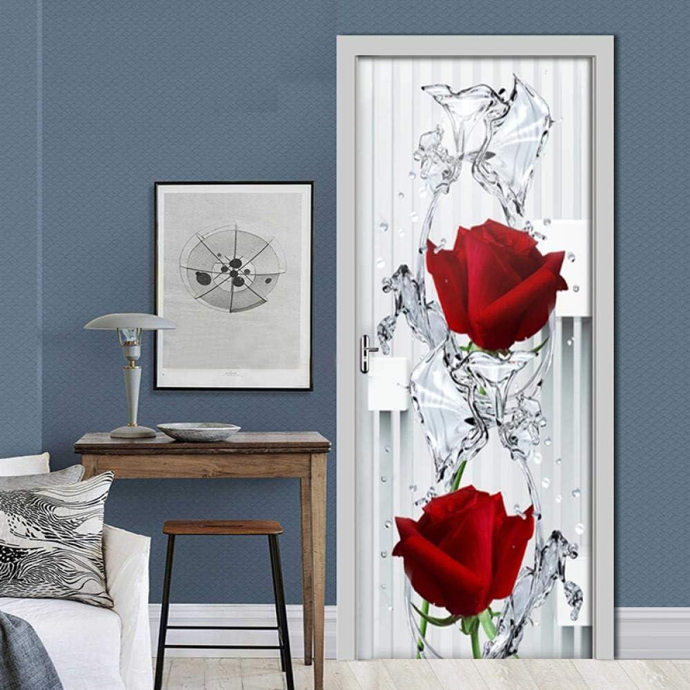 LHMBH T/ür Aufkleber Selbstklebend Neue 3D Moderne Rose Drop T/ür Aufkleber Pvc Tapete Poster Wohnzimmer Schlafzimmer T/ür Dekoration Aufkleber Halle T/ür Wandbild 77X200Cm