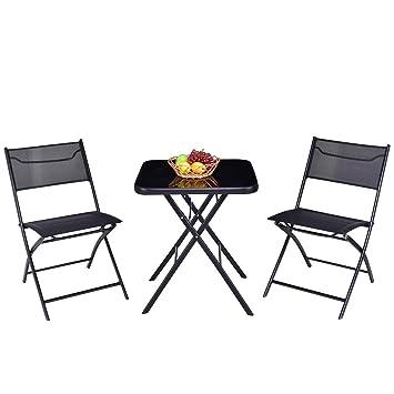 Phenomenal Amazon Com Good Concept 3 Pc Outdoor Patio Folding Square Ncnpc Chair Design For Home Ncnpcorg