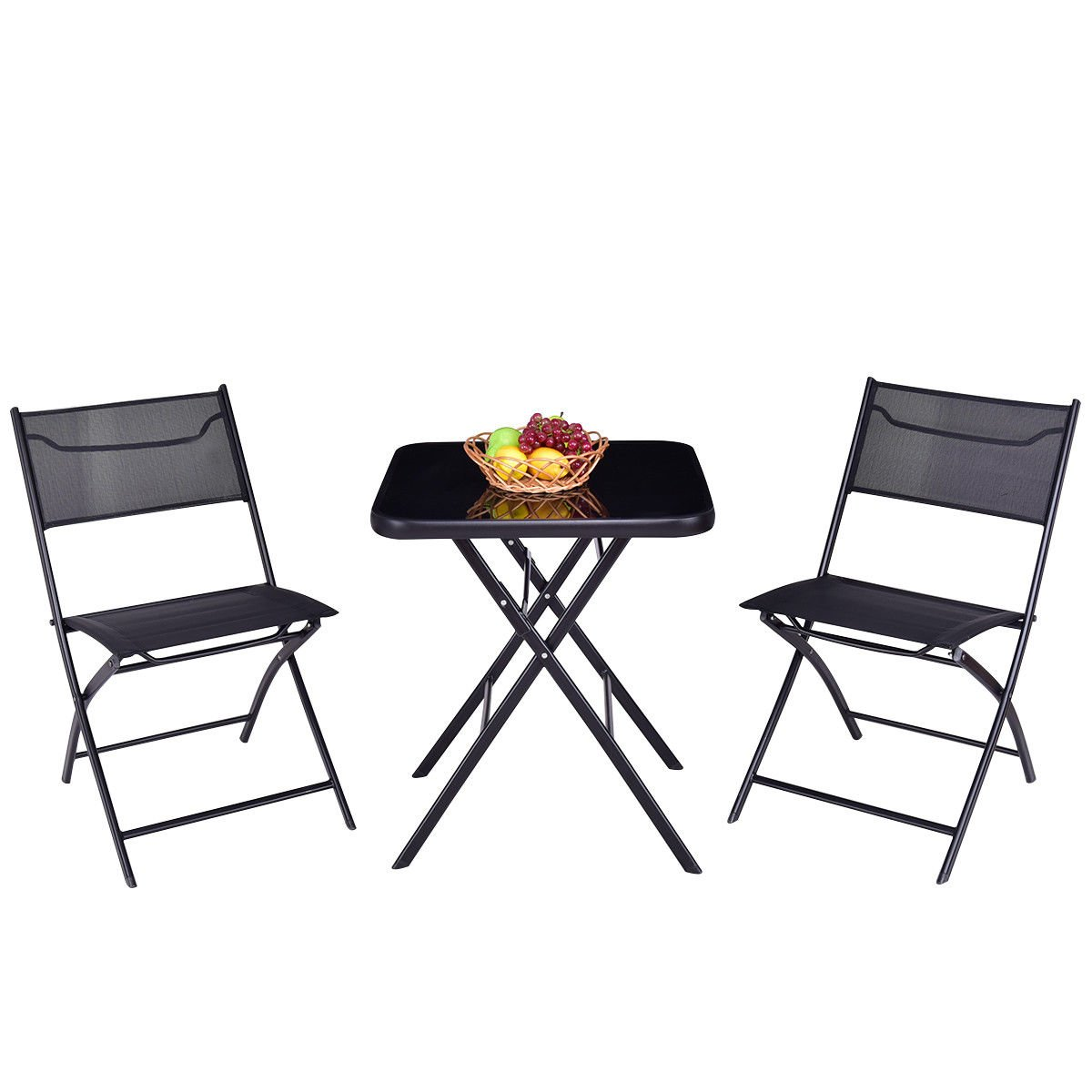 Good concept 3 pc Outdoor Patio Folding Square Table Chair Suit Set Bistro Backyard Yard Garden