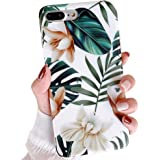 iPhone 8 Plus Case, 7 Plus Case for Girls, ooooops Green Leaves with White&Brown Flowers Pattern Design,Slim Fit Clear Bumper Soft TPU Full-Body Protective Cover for iPhone 7Plus 8Plus(Leaves&Flowers)