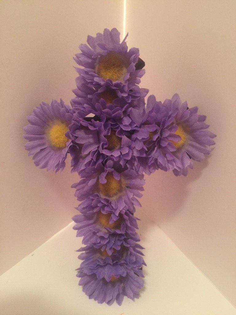Small Cross Wall Decor - Purple Daisies