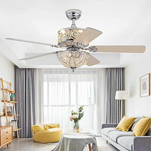 RainierLight Crystal Ceiling Fan Lamp LED Light for Bedroom Living Room Hotel Restaurant with 5 Wood Reversible Blades Remote Control 52 Inch