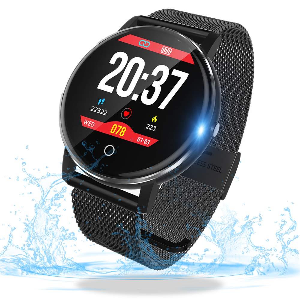 SmartWatch,Reloj Inteligente con Impermeable 67, Pulsera Actividad Inteligente con Monitor Rítmo Cardíaco Calorías, para Android y iOS Teléfono móvil ...