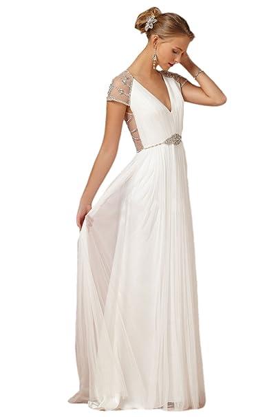 Vestido de novia, de manga corta, espalda con bordado, líneas curvas