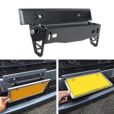 KKmoon License Plate Frame Holder Universal Carbon Fiber Car License Plate Frame Holder Racing Style Angle Adjustable Relocate Bracket: Automotive