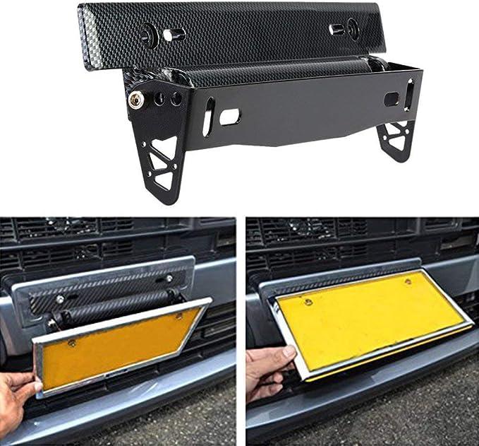 Carbon Fiber Front Bumper License Plate Mount Bracket Relocator Holder Universal