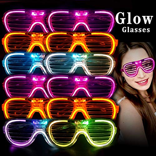M.best Unisex Fashion Plastic Glow LED Light Up Shades Toy Glasses for Christmas Halloween Wild Clubbing Birthday Party Favors Supplies (Set of 12 A)