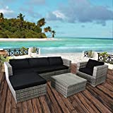 Cloud Mountain 6 Piece PE Outdoor Patio Garden Backyard Lawn Furniture Set Wicker Rattan Sectional Sofa Couch Set with Cushions, Gradient Grey