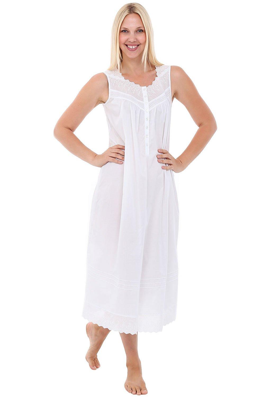 Alexander Del Rossa Womens Diana Cotton Nightgown, Sleeveless ...